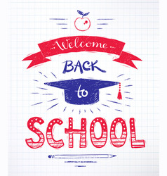 Back to school lettering poster vector