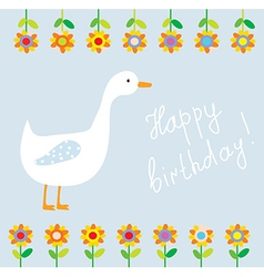 Birthday funny card for child with flowers vector