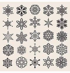 25 snowflakes set vector