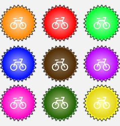 Bicycle icon sign a set of nine different colored vector