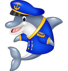 Cartoon funny dolphin wearing captain uniform vector
