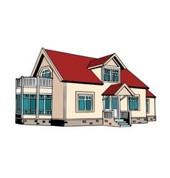Suburban two-storey house vector