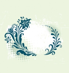 Circle decorative grunge floral frame vector