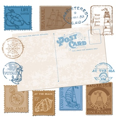 Postcard with retro sea stamps vector