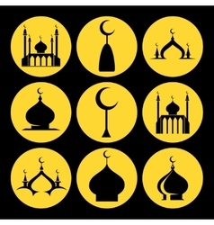 Mosque dome icons set vector