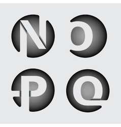 Capital letter n o p q of wide white stripes vector