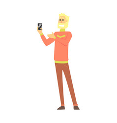 Beardy man holding smartphone department store vector