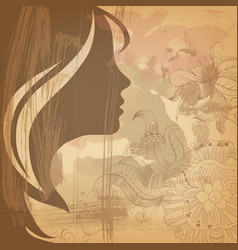 Beautiful girl face on old background vector