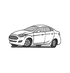 car doodle hand drawn vector image