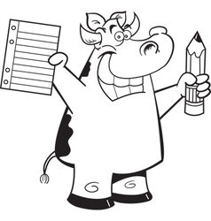Cartoon Cow Student vector image vector image