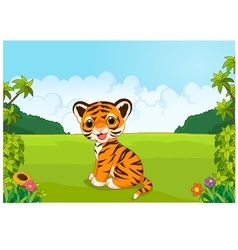 Cartoon cute baby tiger vector