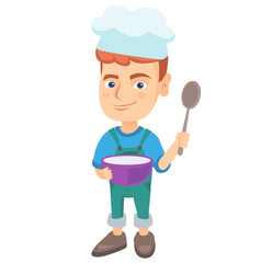 caucasian boy holding a saucepan and a spoon vector image