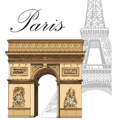 Colored triumphal arch with eiffel tower vector