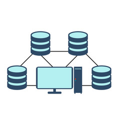 database network icon flat vector image