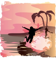 grunge sunset vector image vector image
