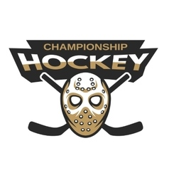 Hockey goalie mask with two sticks vector image