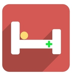 Hospital Bed Flat Rounded Square Icon with Long vector image