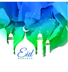 Islamic eid festival greeting card design with vector