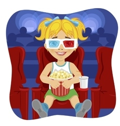 Little girl with 3d glasses holding popcorn vector