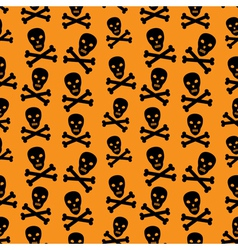 Orange background with skulls vector image