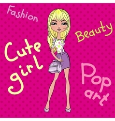 Pop art cute fashion girl vector