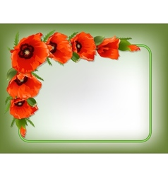 Red poppies floral frame vector image vector image