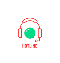 Red thin line hotline icon vector