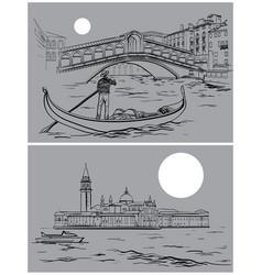 Rialto bridge and san giorgio di maggiore church vector