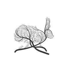 running hare rabbit stylized bush vector image