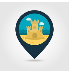 Sand castle pin map icon summer vacation vector