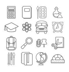 School education icons set outline style vector