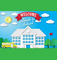 set of back to school banners in origami vector image