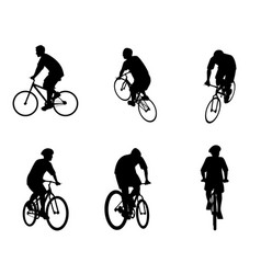 six bicycles set vector image