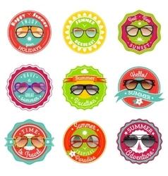 Sun glasses summer sale labels vector image