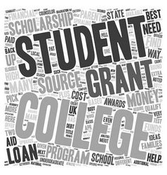 The best way to find college loans text background vector