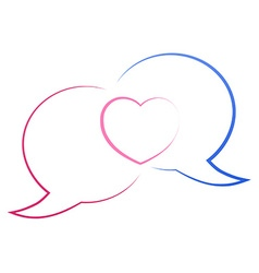 The contours of the two chat bubbles blue and red vector image