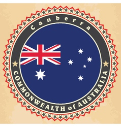 Vintage label cards of Australia flag vector image vector image