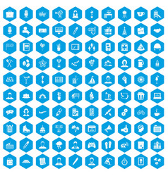 100 team building icons set blue vector