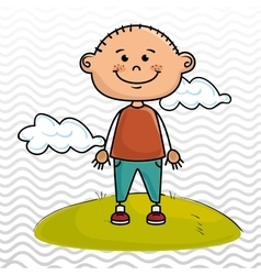Boy kid cloud meadow icon vector