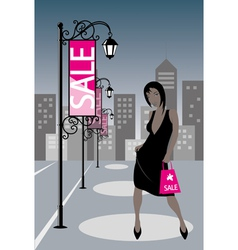 Night Shopping Girl vector image