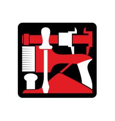 Repair logo repairs tool emblem instrument sign vector