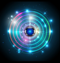 Universe wave signal and buttons abstract vector