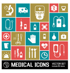 Medical colored icons set vector