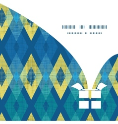 Colorful fabric ikat diamond christmas gift vector