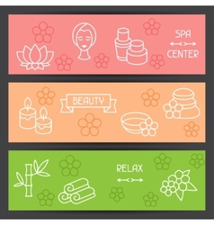Spa and recreation banners with icons in linear vector