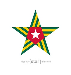 Star with togo flag colors and symbols design vector