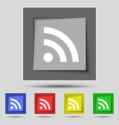 Rss feed icon sign on the original five colored vector