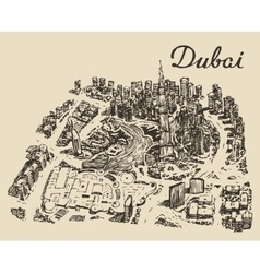 Dubai top view hand drawn engraved vector
