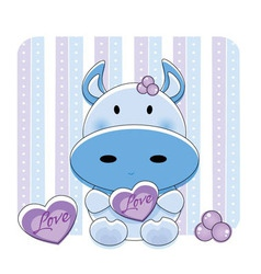 Cartoon love cow vector