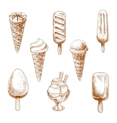 Ice cream desserts engraving sketches vector